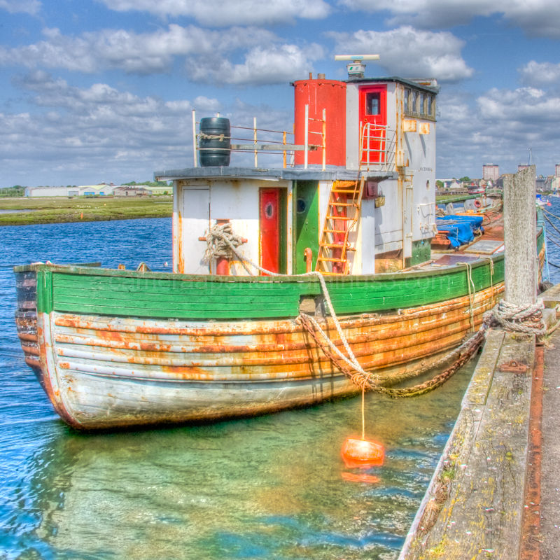 An old fishing boat in Irvine Harbour