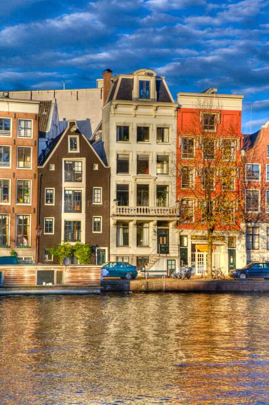Houses on the river side, amstel amsterdam