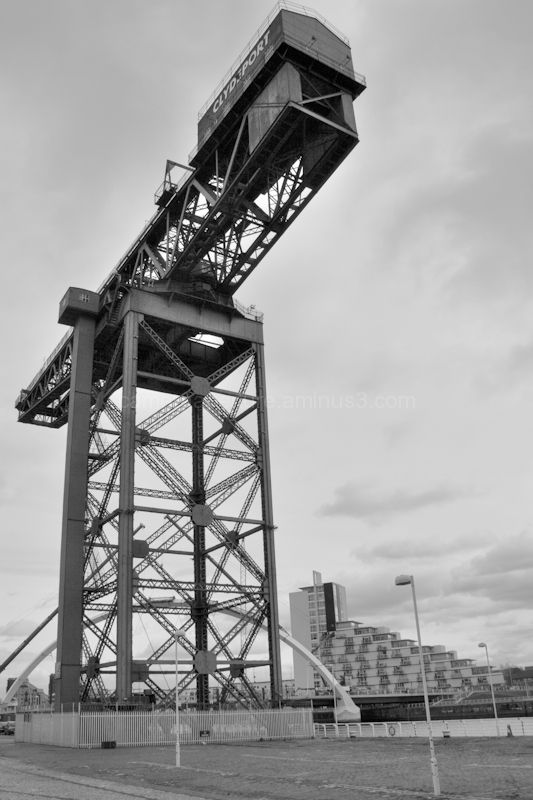 An old crane on the old docks in Glasgow