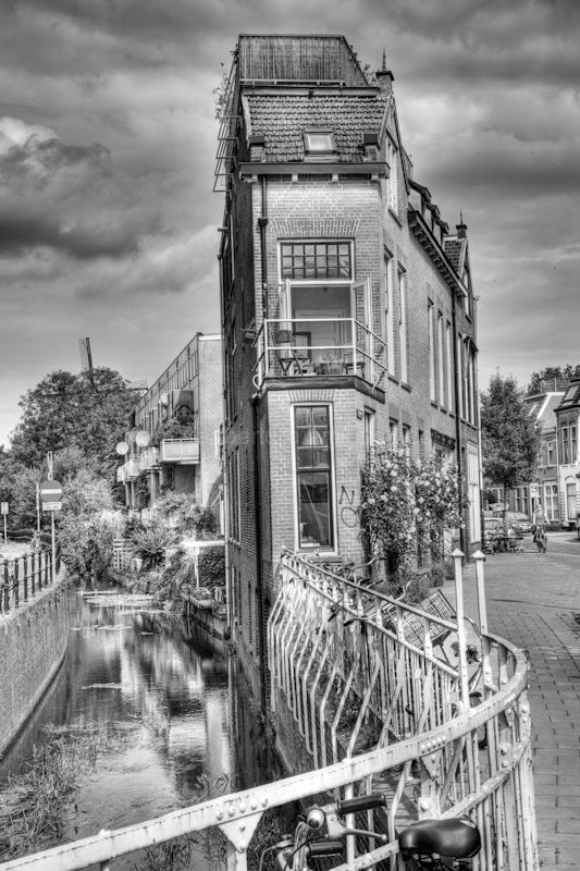 A building beside an canal in Utrecht, the Netherl