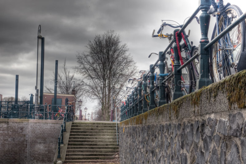 A stairway beside an Amsterdam canal