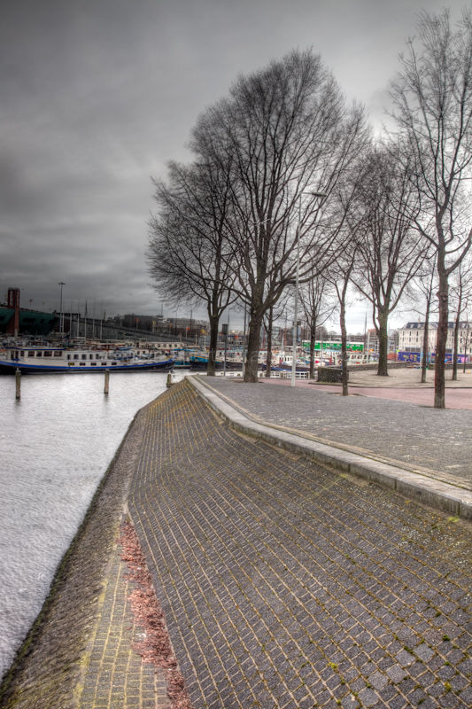 A view along the embankment in Amsterdam