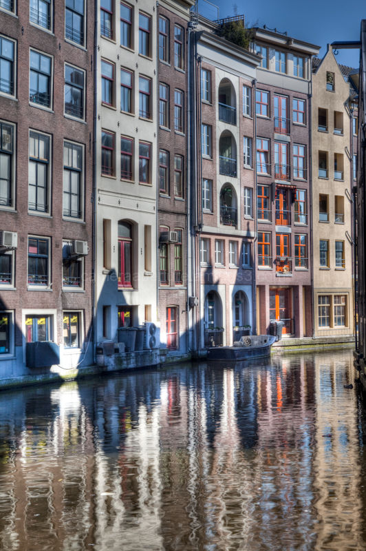 Buildings along a canal in the city of Amsterdam
