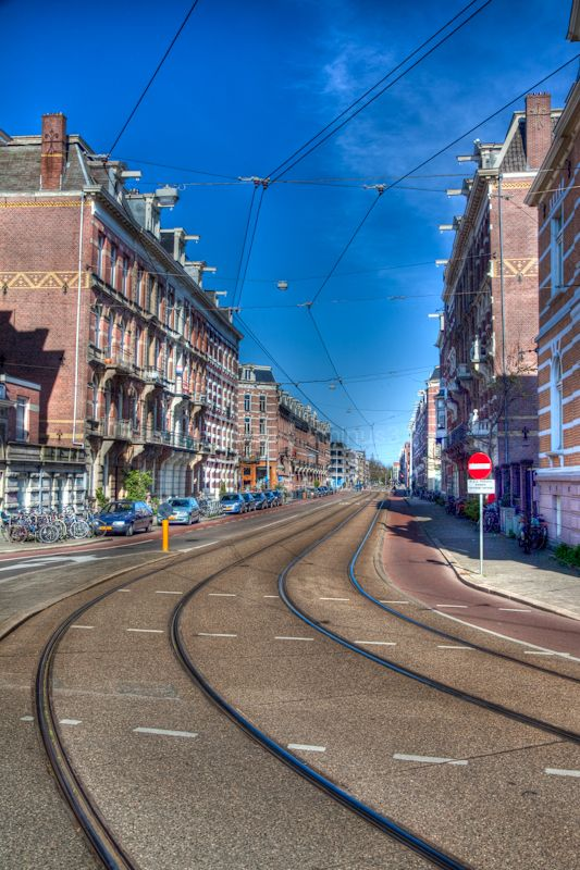 Tram lines in the city of Amsterdam