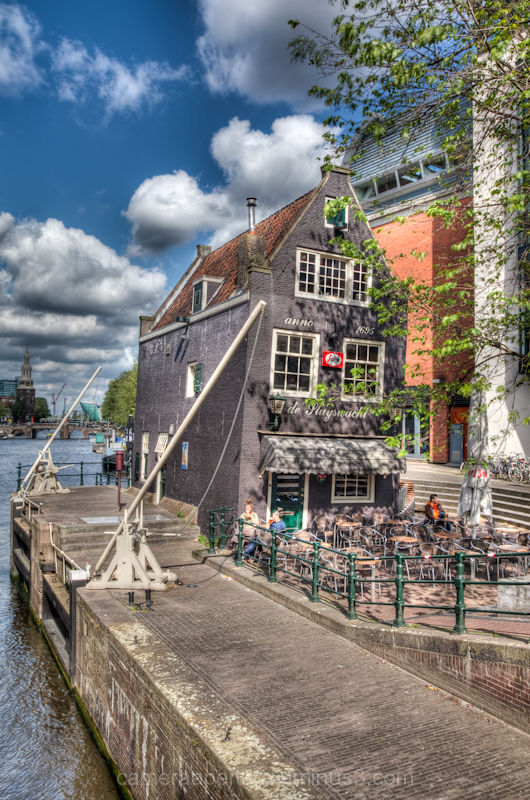 A leaning cafe in the centre of Amsterdam