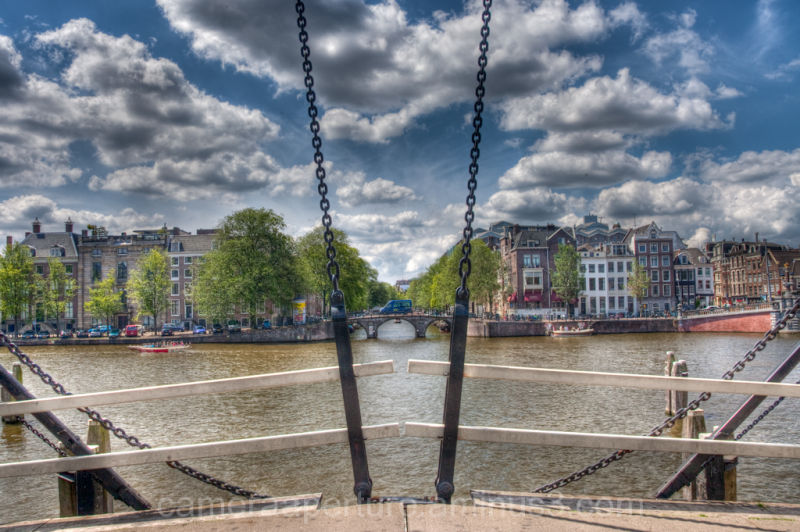 A view from a swing bridge in Amsterdam