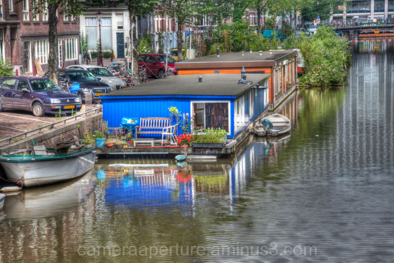 A house boat in the city of Amsterdam