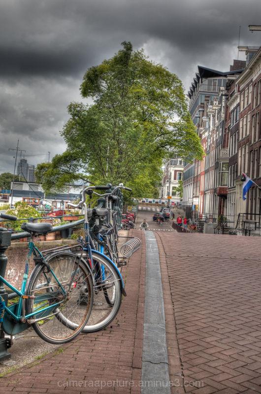 Bikes on an Amsterdam canal bridge