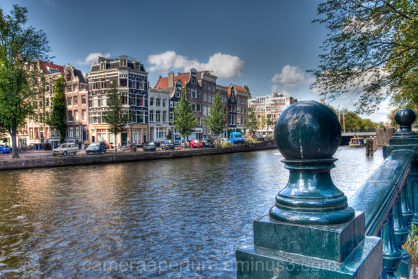 A canal in the city of Amsterdam
