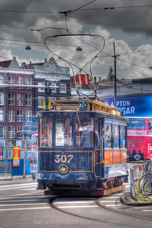 An old tram in the city of Amsterdam, tourist tram