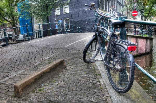 A bike on an Amsterdam bridge