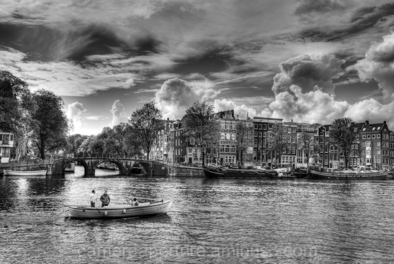 The Amstel river in the city of Amsterdam