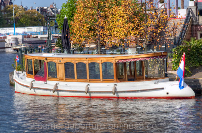A boat on the Amstel river in Amsterdam