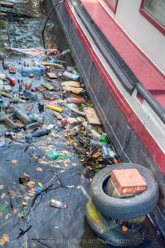 The Rubbish at the side of a House boat