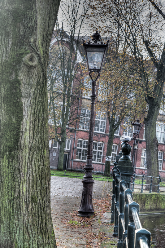 a lamppost in the city of Amsterdam