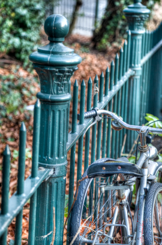 A park railing in the city of Amsterdam