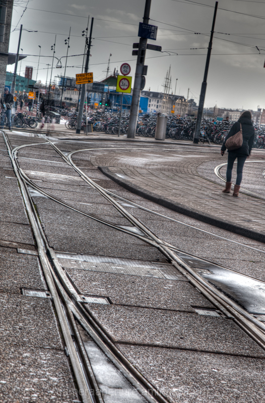 The tram rails at CS in the city of Amsterdam