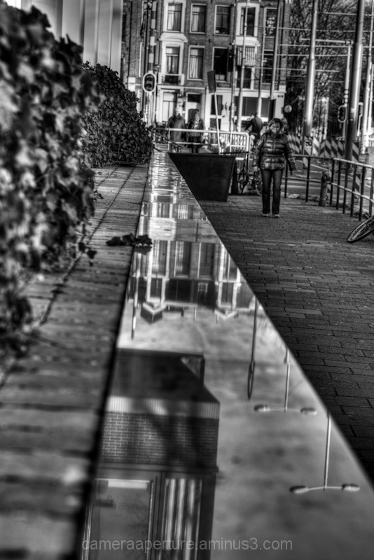 Reflections on the side of a building amsterdam