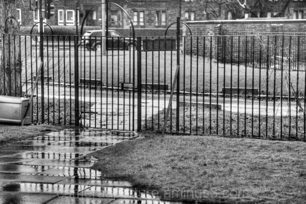 An Iron fence in the city of Glasgow