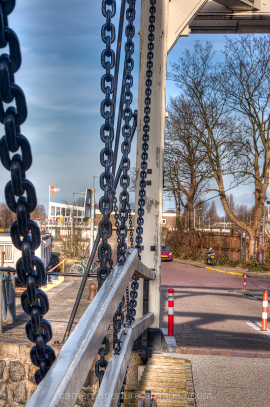 The side of a swing bridge in the city Amsterdam