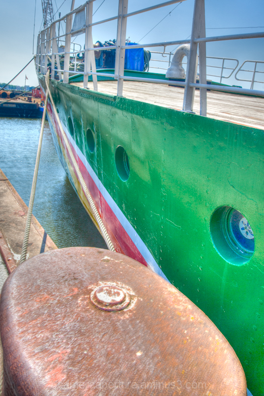 The bow of Greenpeace ship in north Amsterdam