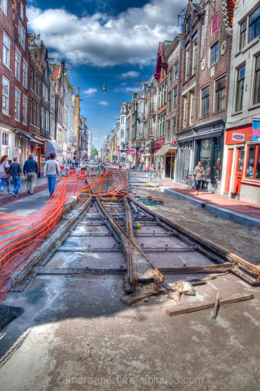 Old tram tracks in Utrechtsestraat, in the city of