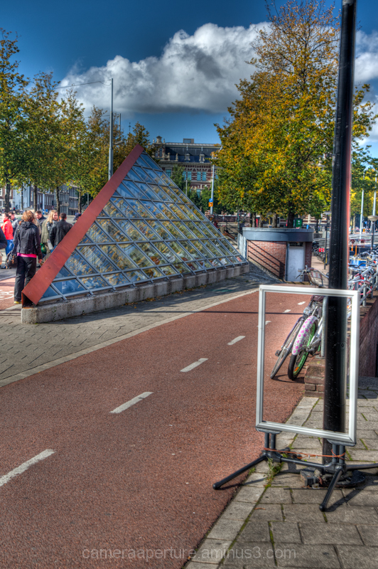 A bike lane in the city of Amsterdam