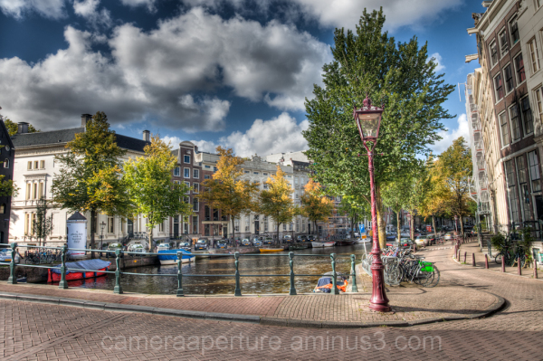 A lamp post int the city of Amsterdam