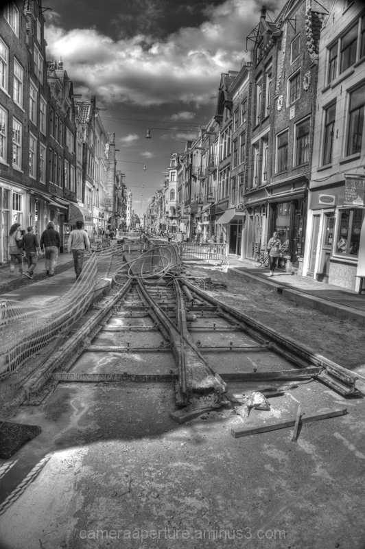 Tram tracks in Amsterdam