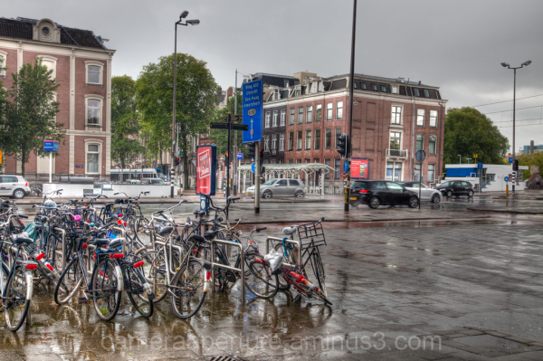 A rainy day in the city of Amsterdam