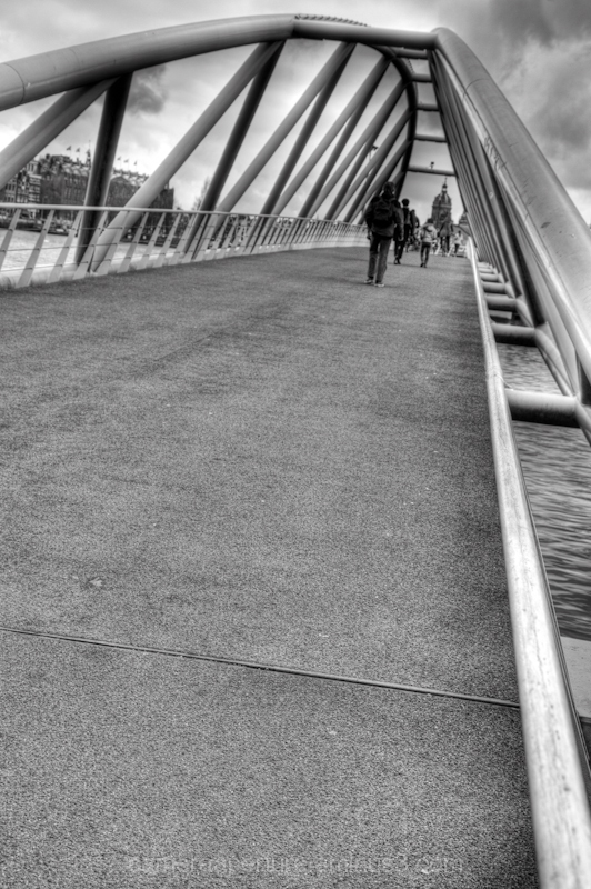 A foot bridge in the city of Amsterdam