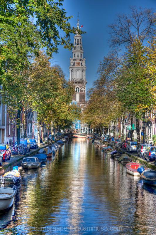 A tower reflection in the city of Amsterdam