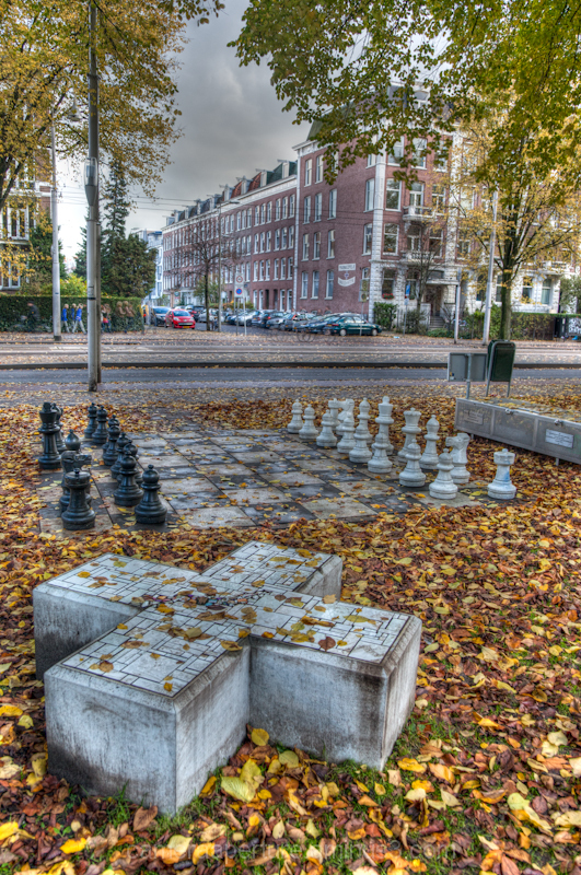 An open air chess board in the city of Amsterdam