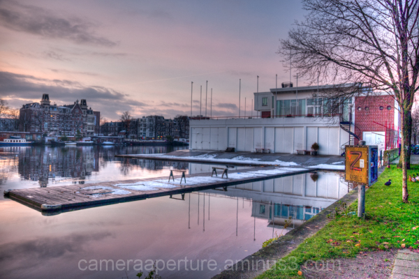 A boat house on the Amstel river in Amsterdam