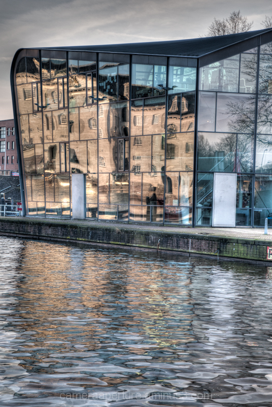 Reflection in glass in the city of Amsterdam