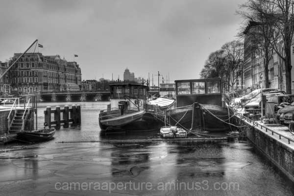 The icy Amstel river in the city of Amsterdam