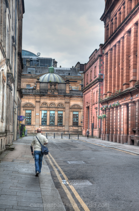 An empty street in the city of Glasgow Scotland