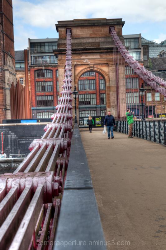 Suspension footbridge over the river clyde Glasgow