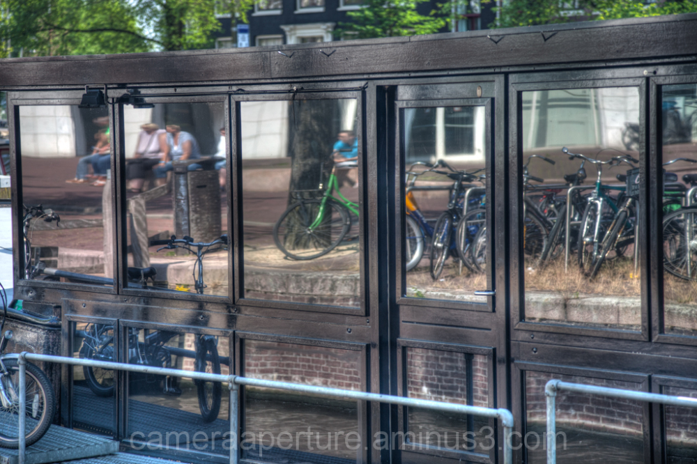 A reflection in an Amsterdam houseboat
