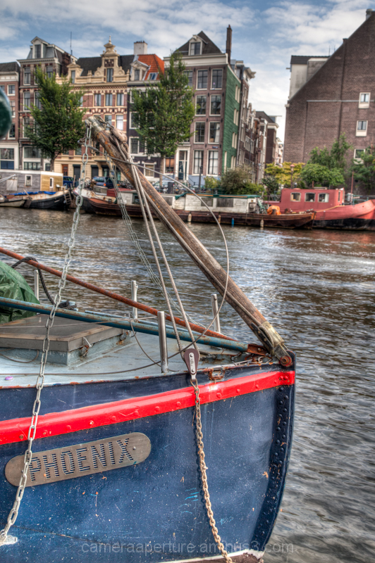 A boat bow on an Amsterdam canal