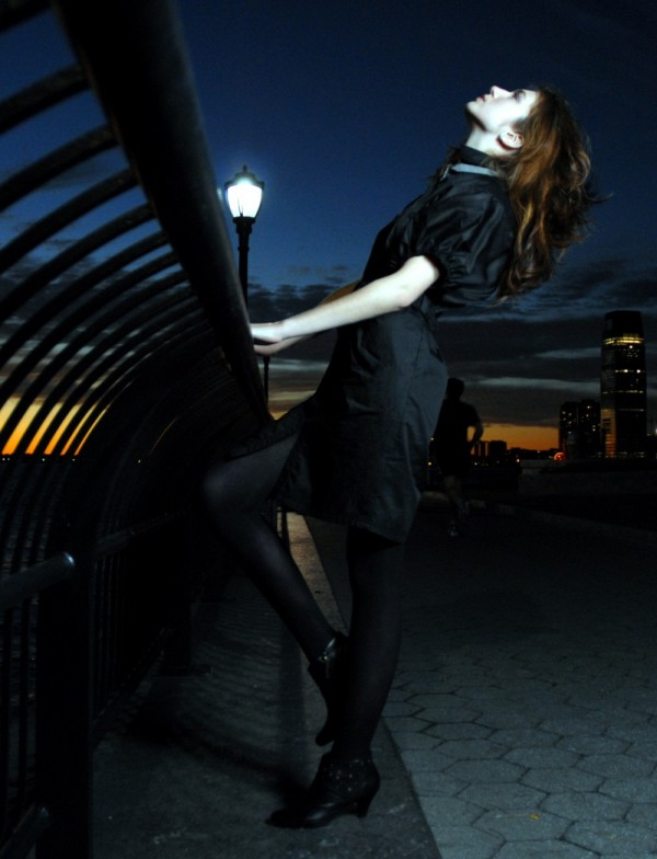 Model in Battery Park at sundown