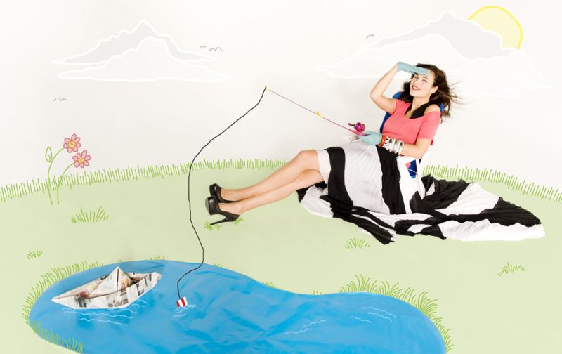 fishing editorial fashion girly spread feminine