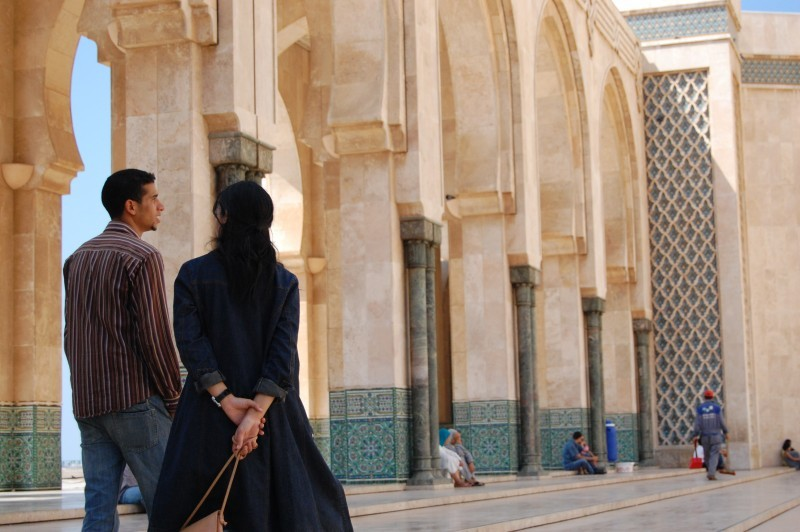 A couple at the Hassan II mosque in Casa
