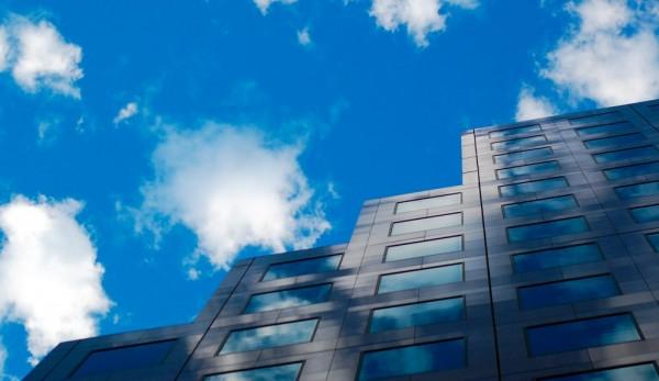 Cloud reflection off building
