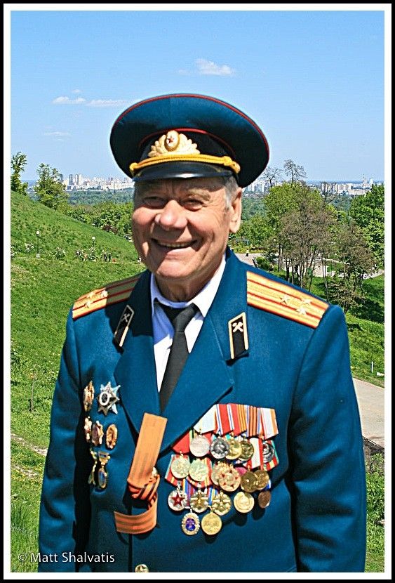 smiling veteran friend victory day kiev