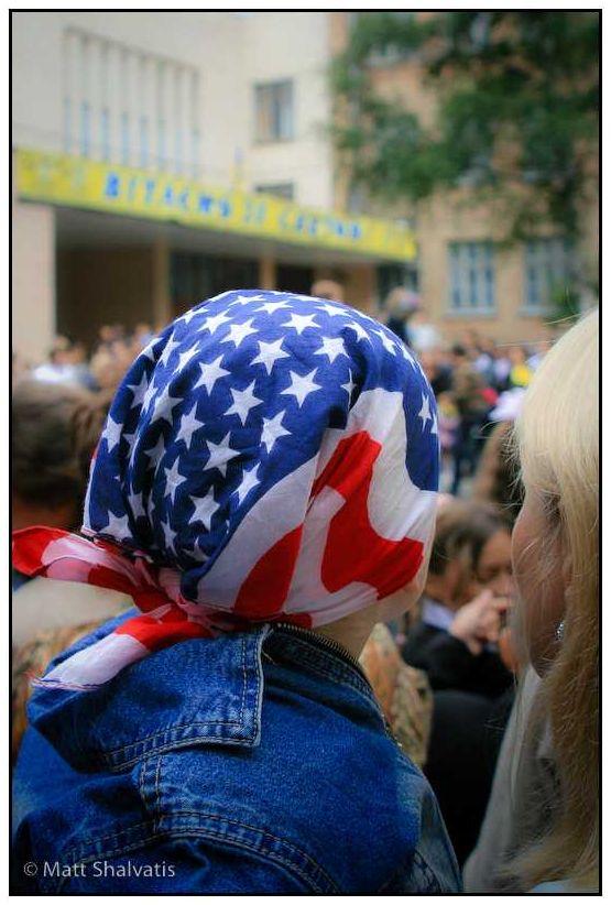Boy with flag motif headscarf.