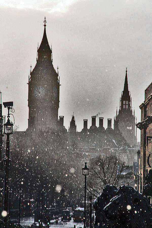 Snow over London