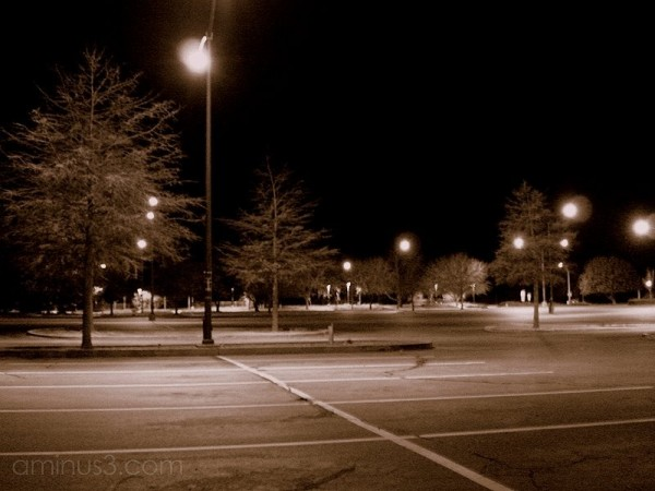 deserted empty parking lot night