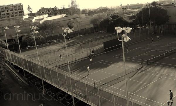 tennis court parking lot