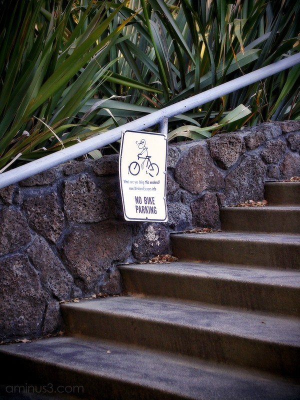 no bike parking sign stairs